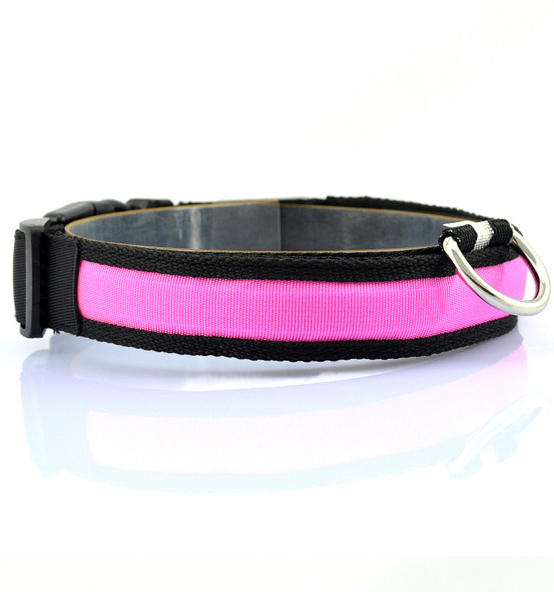 Nylon LED Pet Dog Collar Luminous Night Safety LED Dog Collar Light For Cat Flashing Glow In The Dark Pet LED Collars Electronic in Collars from Home Garden