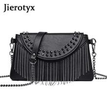 JIEROTYX Fringed Woman Crossbody Bag Black Leather Lady Shoulder Bags Cute Designer Luxury Handbags Women Rivet Punk Style