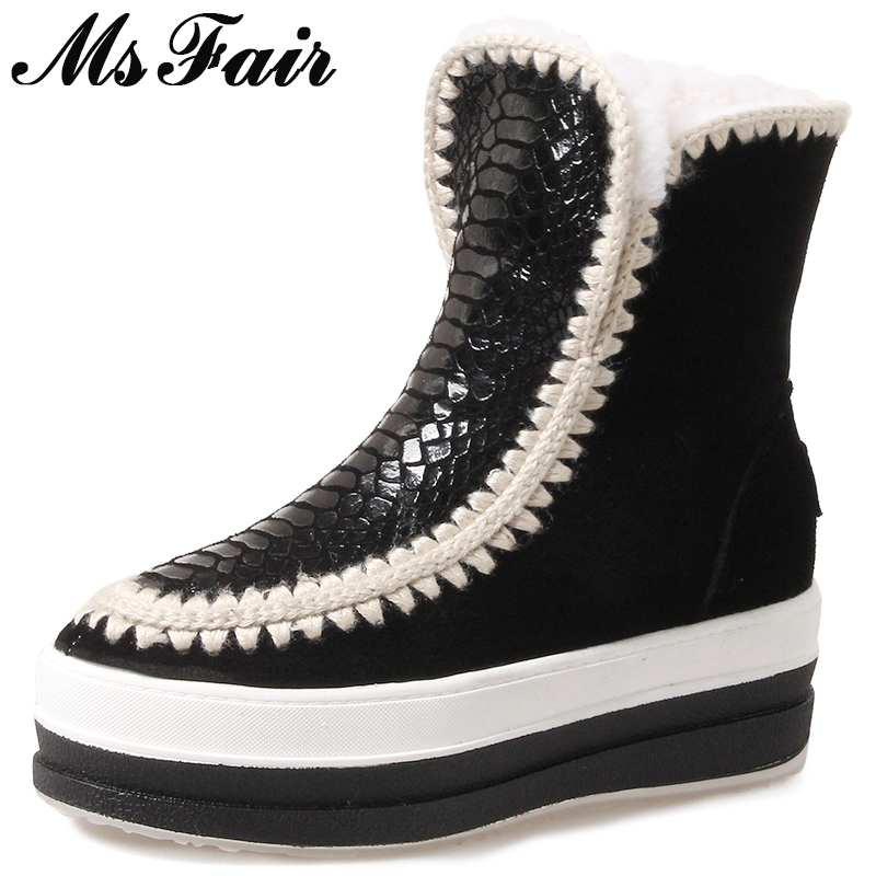 MSFAIR Women Snow Boots Fashion Mixed Colors Round Toe Flat Ankle Boots Women Shoes Winter Wool Keep Warm cotton boots For Girl fashion keep warm winter women boots snow boots 2017 buckle cotton boots women boots shoes