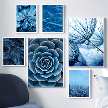 Nordic Blue Dandelion Succulents Monstera Leaves Wall Art Canvas Painting Posters And Prints Pictures For Living Room Decor
