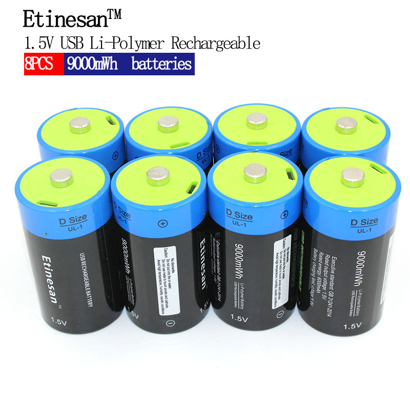 8pcs NEW Toy Flashlight Battery! Etinesan 1.5V 6000mAh Li-polymer Rechargeable D size Batteries Li-ion powerful USB Battery broadlink mp1 wifi power strip socket 4 outlet extension socket plug with eu us uk au adapter app remote control for smart home
