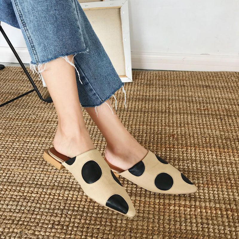 Flat with Slippers Women Shoes Woman Pointed Toe Ladies Female Slides Lady Slippers Summer Fashion Women Flip Flops Mules Shoes