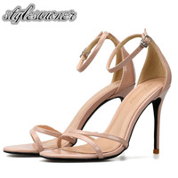 Stylesowner British Style Classic Buckle Strap Woman Sandals Nude Black PU High Heels 8/10cm Patent Leather Woman Sandals Female