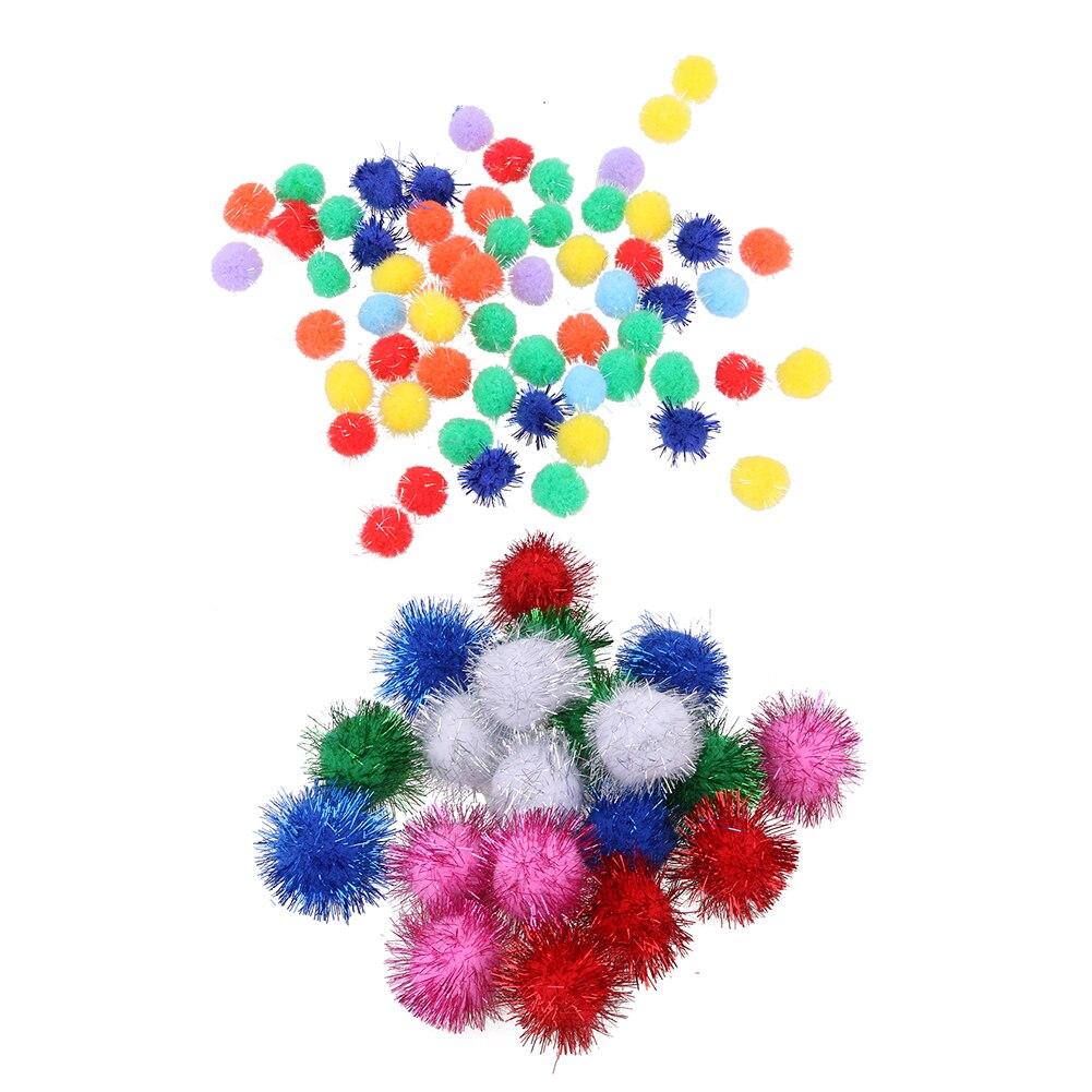 21pcs/100pcs Glitzy Tinsel Sprayed Pompoms Balls Cat Toys Pet Hairy Ball Fidget Play Training Toy Dia 1.5cm/3.5cm