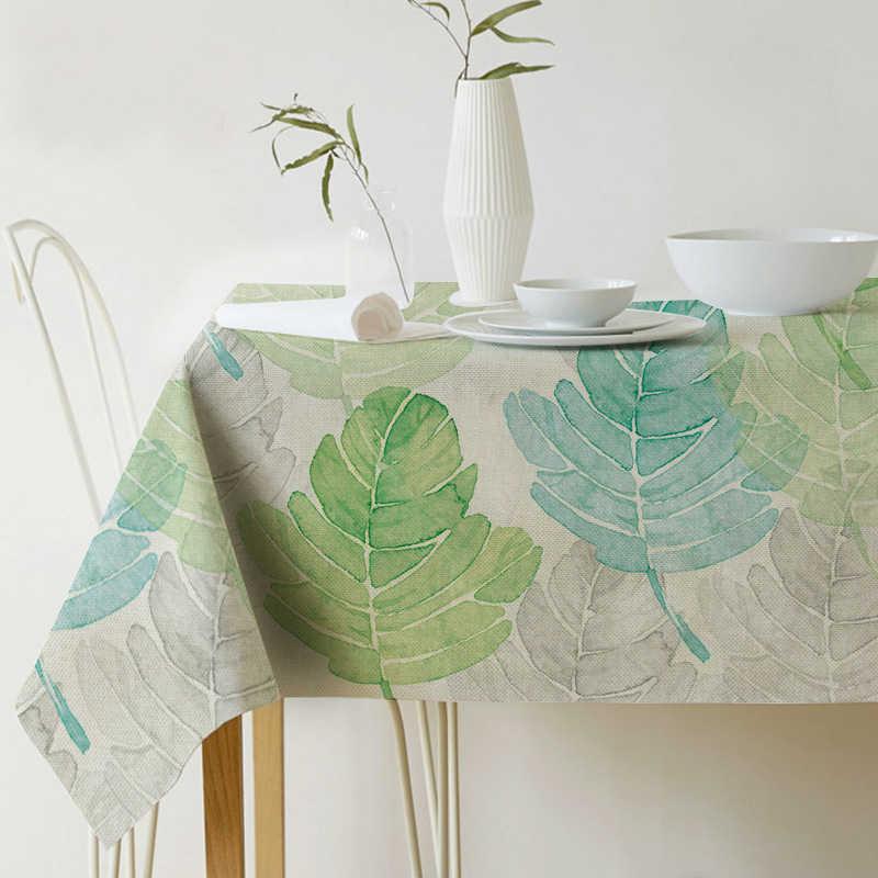 الجدول القماش مستطيلة الرعوية نمط الاستوائية النباتات المطبوعة سماط الديكورات المنزلية الطعام غرفة أنيقة الكتان الجدول 45