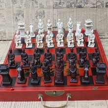 Antique Chess Three-dimensional Super Large Chess Pieces Wooden Folding Chess Board Terracotta Warriors Figures Yernea hot chess game collectibles vintage chinese terracotta warriors 32 chess set