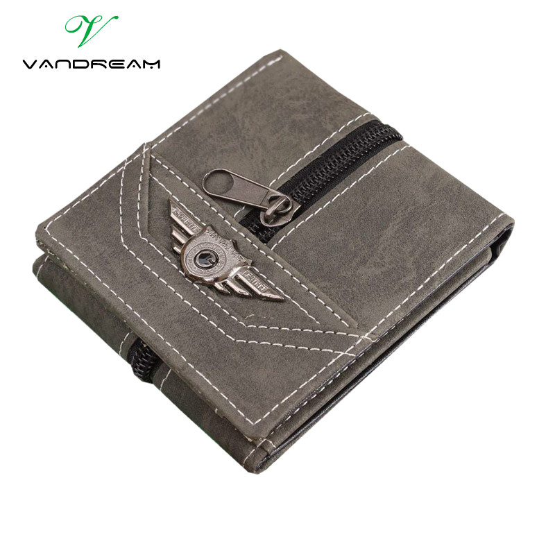 Canvas Men Wallets With Coin Zipper Short Money Bag Pocket For Credit Card Boys Student 3 Fold Purse 2016 Old School Army Green