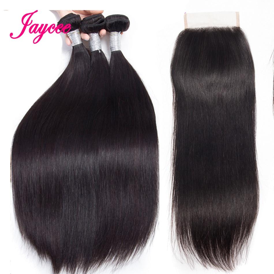 Jaycee Hair Straight Hair Bundles With Closure Malaysian Hair Bundles With Closure Human Hair Extensions De Cheveux Naturels