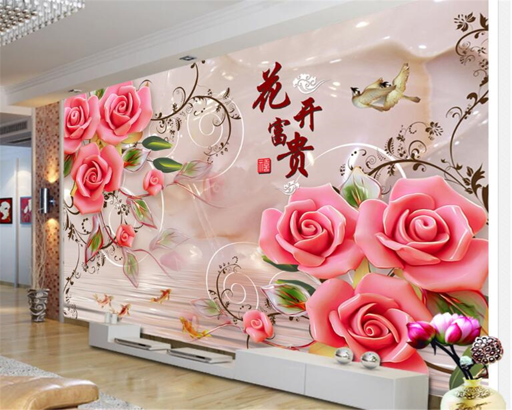 Beibehang Beautiful Wallpaper Flowers Rich Jade Carved Roses Tv Wall