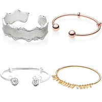 Openwork Lace Of Love Logo Signature Minnie & Mickey Caps Open Bracelet Fit Pandora Bangle 925 Sterling Silver Bead Charm