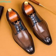 QYFCIOUFU 2019 Men Dress Shoes Genuine Leather Black Italian Fashion Business Oxford Classic Luxury Designer US 11.5