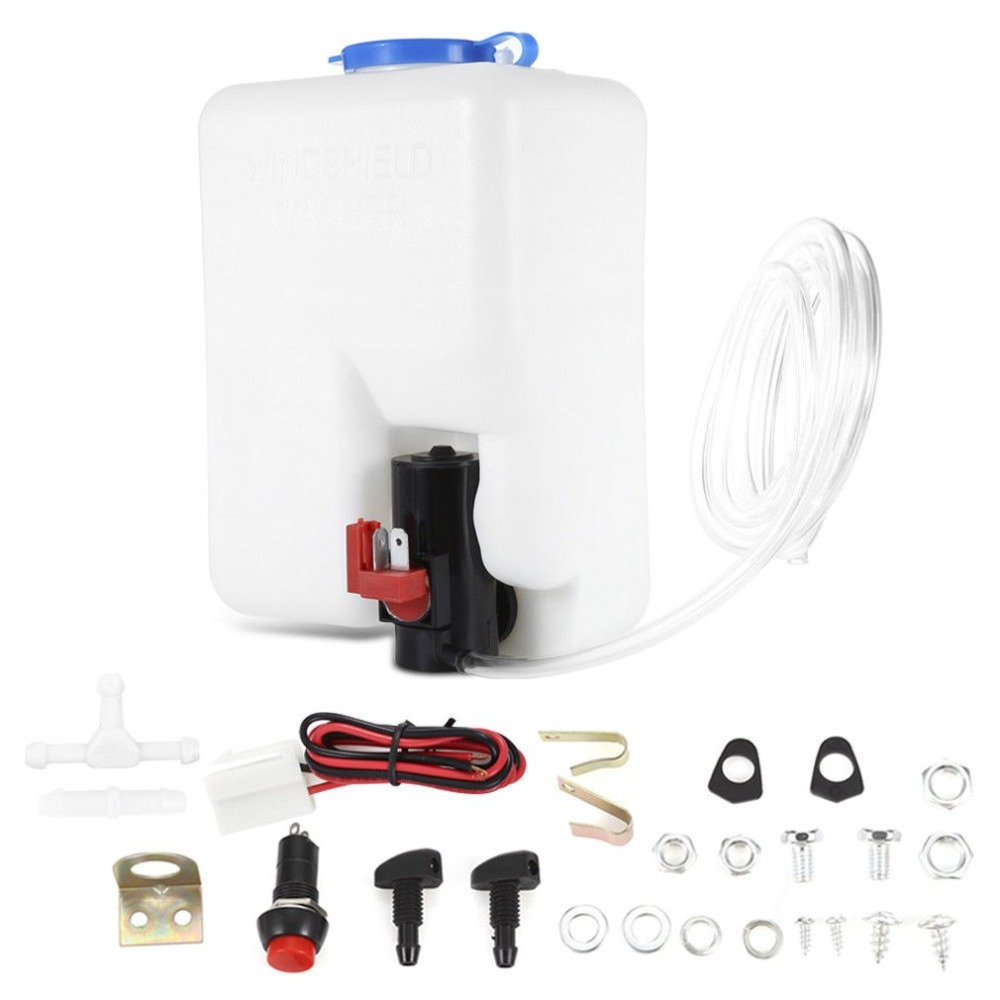 New Washer Tank Pump Bottle Kit Universal Windshield Wiper Systems Quality Reservoir