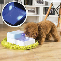 1 8L Automatic Pets Water Drinking Filter Fountain Bowl With LED Light Dogs Cats