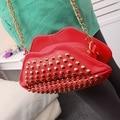 GUDANSEN Fashion Rivet Women Chain Shoulder bag Women's Clutch Evening Bags Red Lips Purse Leather Handbags/messenger Bag Red