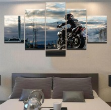 Motorcycle and Man painting on canvas Modern Decor HD Print Painting 5 Piece Canvas Art poster Room