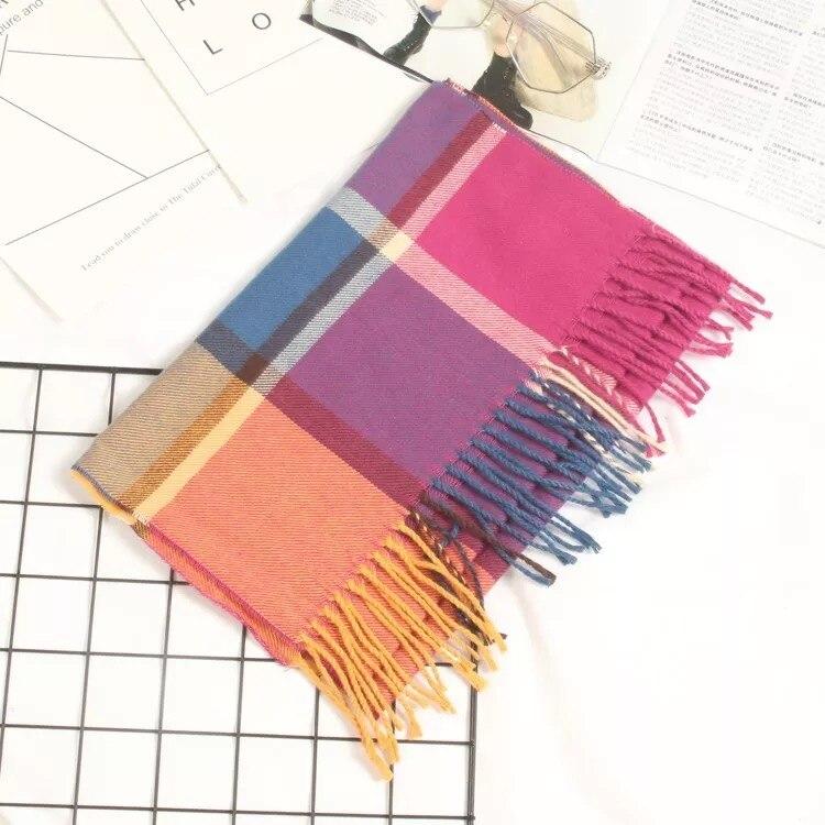 Осенне-зимний детский шарф, британский клетчатый высококачественный теплый мягкий шарф из искусственного кашемира, модный шарф для мальчиков и девочек - Цвет: TG-422 colours