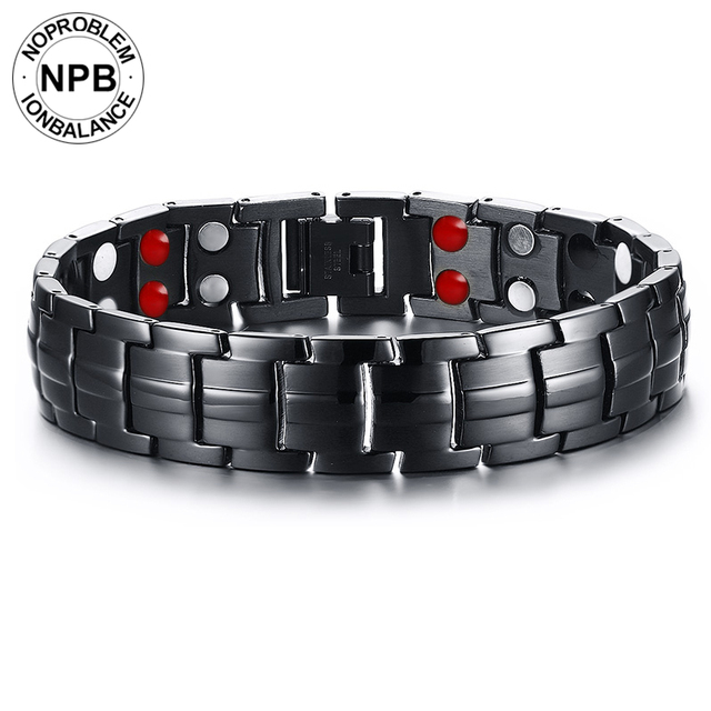 New Arrival Noproblem Far Infrared Charm Magnetic Negative Ion Bracelets 105 Stainless Steel Man Jewelry Black