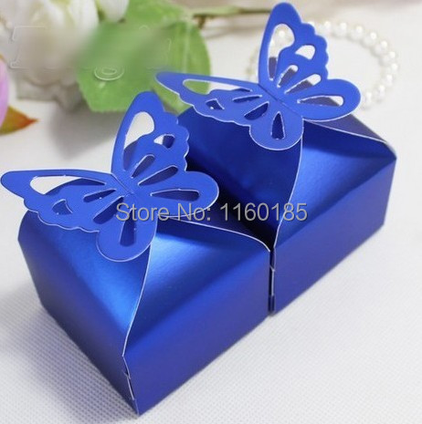 free shipping 50 pcs foil navy blue butterfly candy boxes. Black Bedroom Furniture Sets. Home Design Ideas