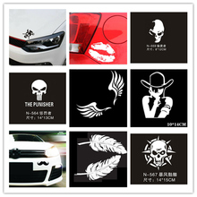 Car Stickers 3D Funny Decal Robin Skull Wings Bats Lips Feathers Car-covers Motorcycle Scratch Realistic Waterproof