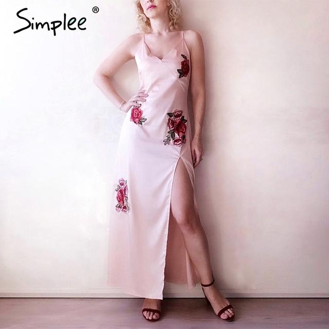 Simplee Satin embroidery floral 2017 summer dress women Sexy v neck sleeveless high split long dress Black beach dress sundress