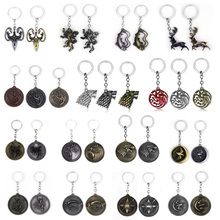 Game of Throne Keychains House Stark Wolf Pendants Key Chains A Song Of Ice And Fire Targaryen Dragon Keyring Souvenirs Gift