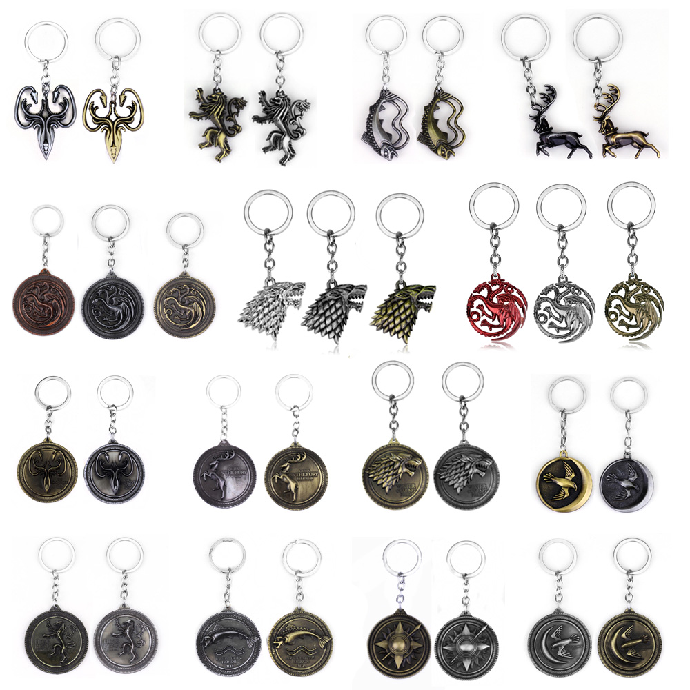 RJ Game Of Thrones Keychains House Stark Wolf Pendants Key Chains A Song Of Ice And Fire Targaryen Dragon Keyring Souvenirs Gift