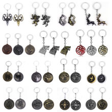 RJ Game of Thrones Keychains House Stark Wolf Pendants Key Chains A Song Of Ice And Fire Targaryen Dragon Keyring Souvenirs Gift(China)