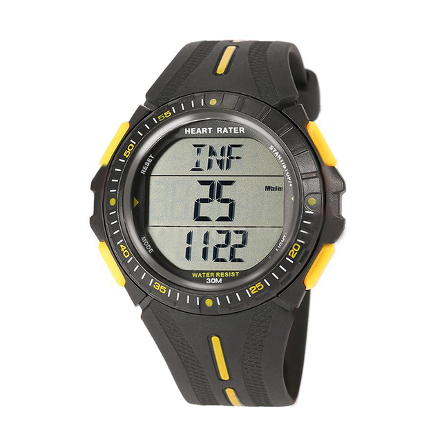 Multifunction Sports Dual-time Pulse Heart Rate Monitor Watch w/Chest Strap Color:Black+Yellow