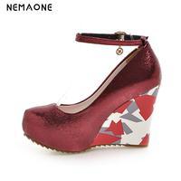 NEMAONE New Fashion Ankle Strap Wedges high heels women Pumps Casual Elegant Platform Shoes woman