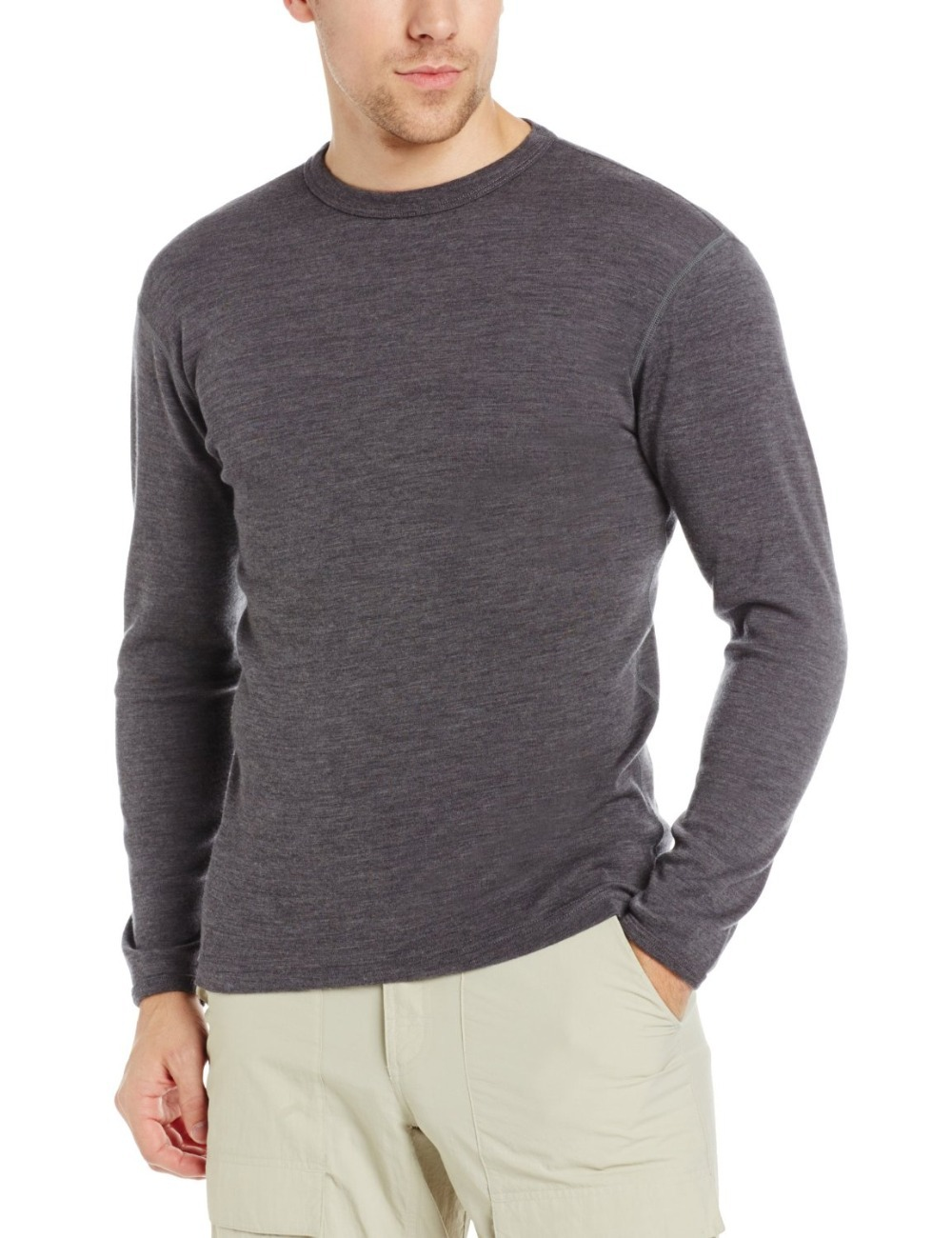 Male Pure 100 New Merino Wool Men s Midweight Crew Long Sleeves Warm Winter Breathable Clothing
