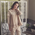 Autumn Long Sleeve Women Pajamas Vintage Princess Pyjama Sleepwear Lovely Lace Ruffle Femme Sleep Lounge Sets Leisure Homewear