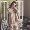 Otoño Pijama de Manga Larga Pijamas de Las Mujeres de La Princesa de La Vendimia ropa de Dormir Encantadora Volantes de Encaje Femme Salón Sueño Establece Ocio Homewear