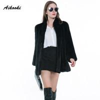 Aikooki Womens Warm Black Faux Fur Coats Winter Parka New Design Hot Sale Ladies Outerwear Ladies