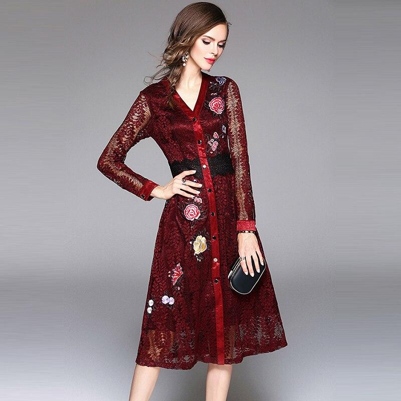 40ac563f62 Élégant Robe Femmes Gris Mode Ciel Rouge Robes Vin bourgogne Ciel D'été V  Cou Pu Sexy Partie Dentelle De gris Broderie Bleu Floral ...