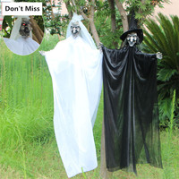 Haunted House Hanging Ghost White Ghost Black Witch with Glowing Eyes Horror Voice Hanging Decoration Halloween Horror Pendant