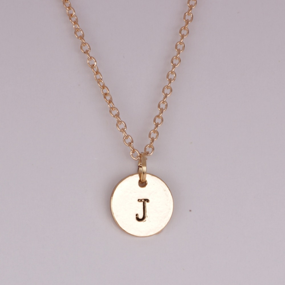 alphabet letter charm necklace hypoallergenic silver and gold plated eternity j classy simple pendant necklace