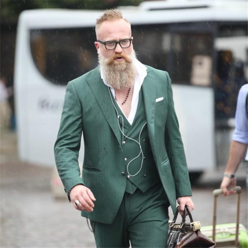jacke + Hose + Weste + Krawatte Treu Kausalen Hochzeit Anzüge Für Männer Grün Zweireiher 3 Stücke Prom Masculino Trajes De Hombre Blazer 280 PüNktliches Timing