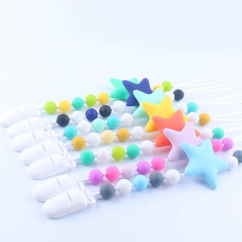 Силиконовая пустышка со звездами, BPA бесплатно, детский прорезыватель, ручная работа, Забавный цветной зажим в форме шарика, держатель для соски, клипсы, цепочка для соски для ребенка