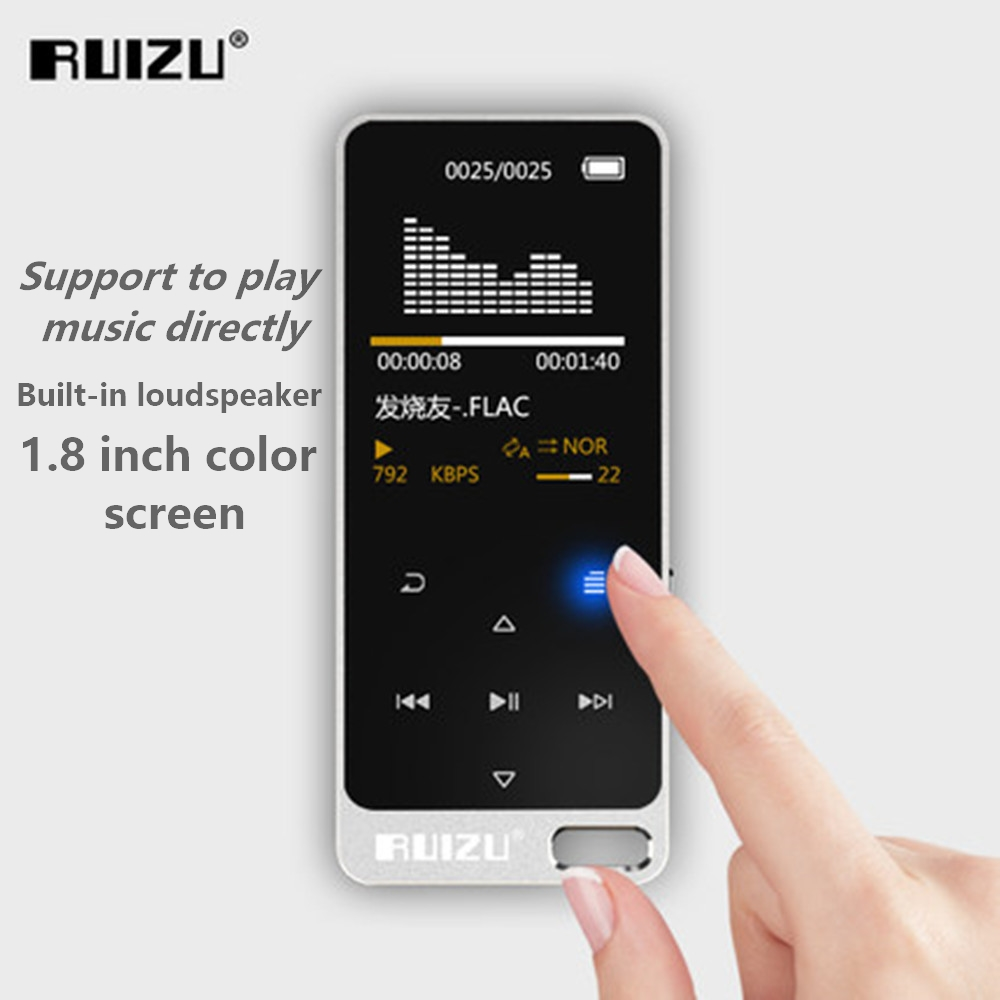 Ruizu X05S 8GB + Free Gift Ultra-thin Touch Portable Lossless Digital Sport Screen Hifi Audio Mp3 Mini Music Mp3 Player FM Radio
