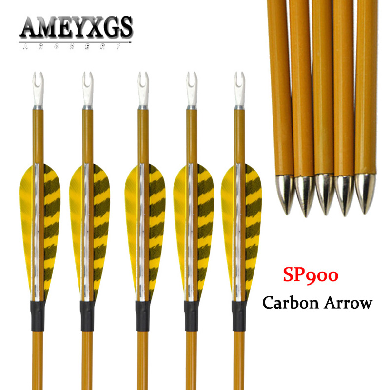 10pcs Mix Carbon Arrow Spine 900 Turkey Feathers 33inch Carbon Arrow For Outdoor Sports Shooting Training