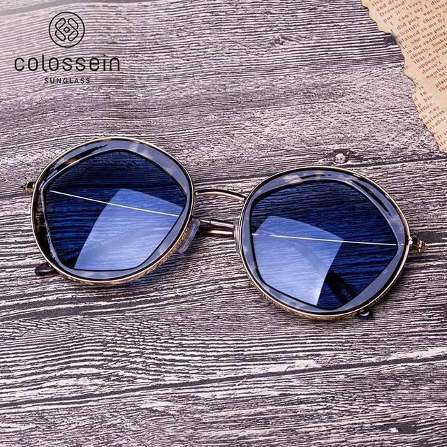 COLOSSEIN Classic Sunglasses Women Fashion Formal Vintage Sunglasses Personality Clamshell Glasses Metal Punk Sunglasses UV400 3