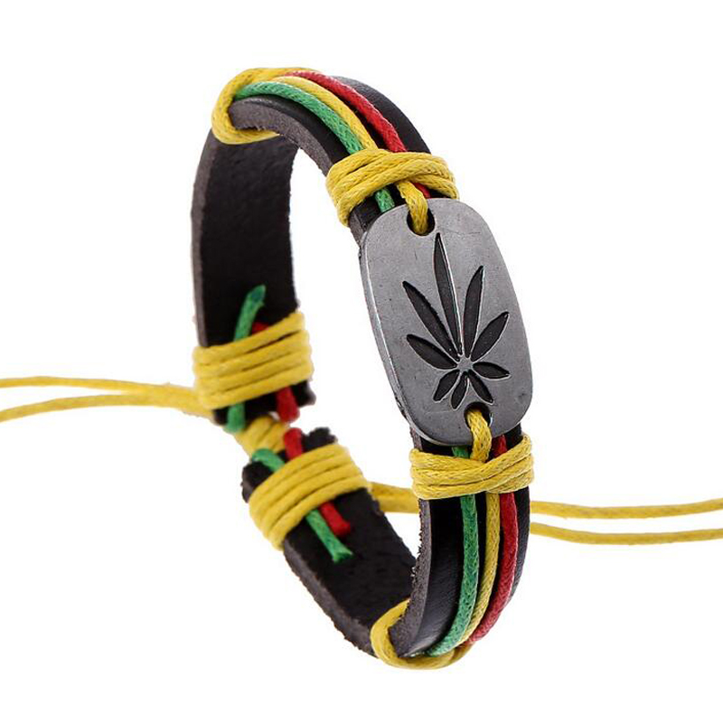 Hiphop Adjustable Unisex Bracelet Rainbow Color Rope Maple Leaf ID Bracelet Bangle Wrist Band Cuff Genuine Leather Jewelry
