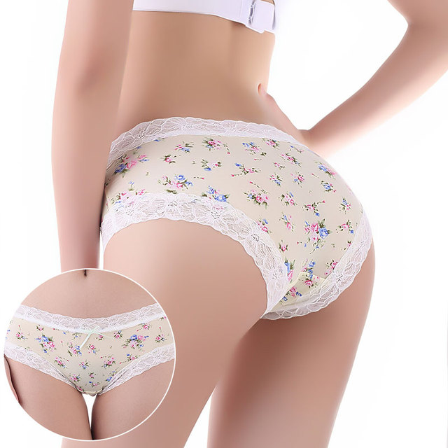 2957dd0d03e5 New Arrival Soft Cotton Underwear Floral Print Flower Women Lace Sexy  Panties Lingerie Pink Hipster Briefs Panty Boyshorts 40