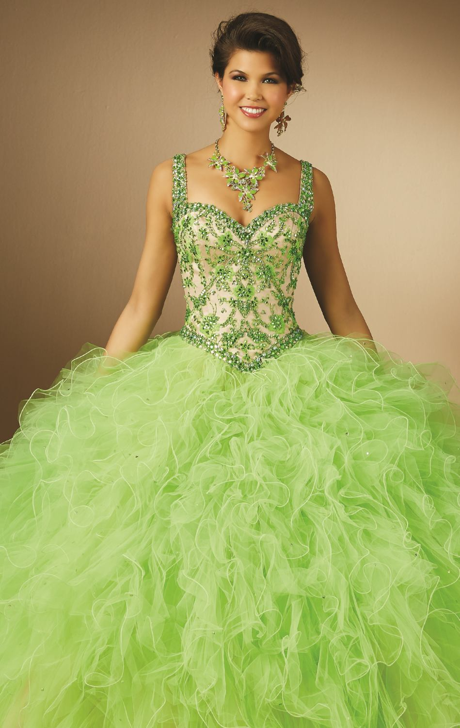 9933187b71b Lime Green Fuchsia Coral 2015 Quinceanera Dresses With Corset Back Design  Ruffles Embroidery Beaded Double Straps Long -in Quinceanera Dresses from  Weddings ...