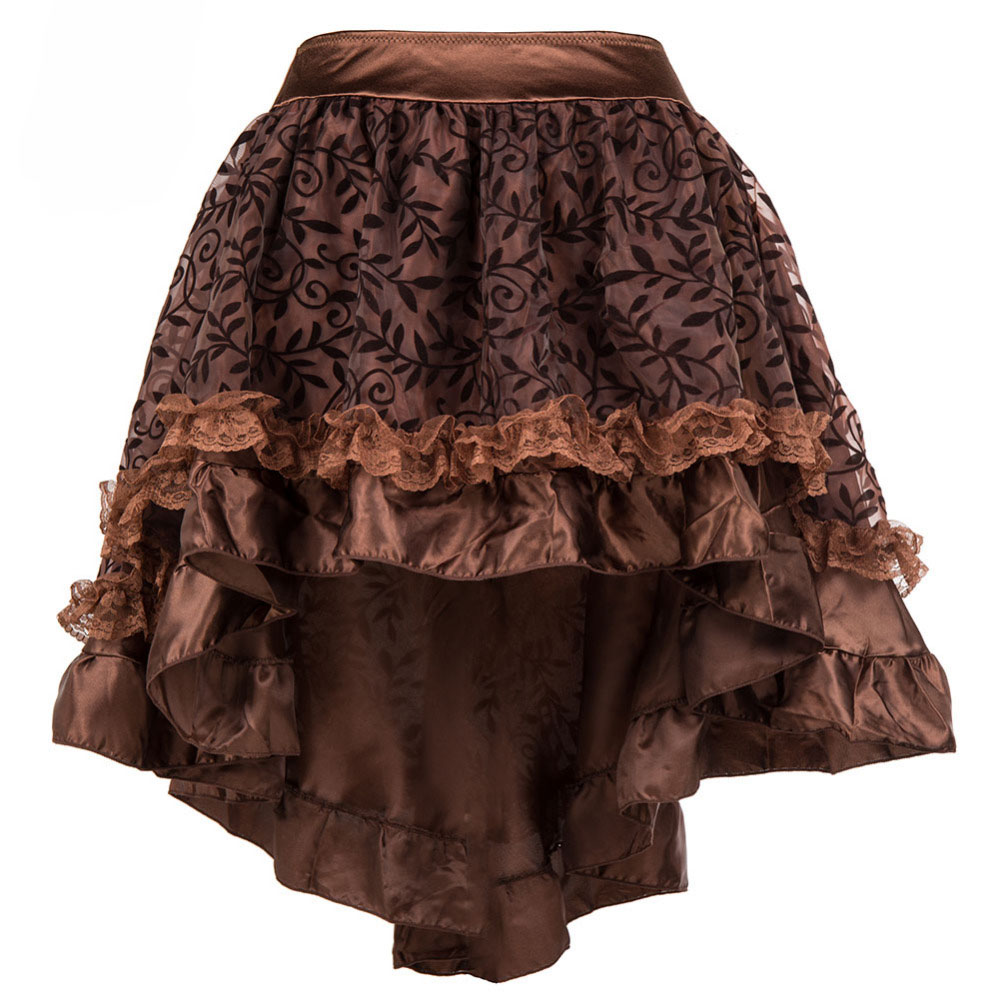 Brown Floral Pattern Asymmetrical Ruffle Satin Amp Tulle