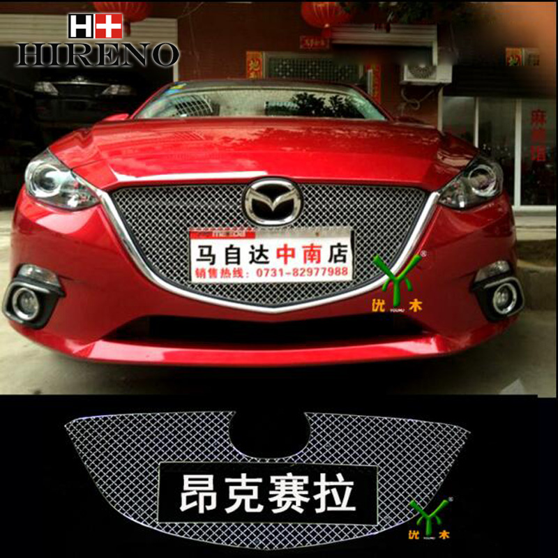 Stainless Steel Car Racing Grills For Mazda 3 Mazda3 Axela 2007-2016 Front Grill Grille Cover Trim Car styling 10th front bumper grill abs material middle grille racing grills type r grill mesh case for honda civici 2016 2017