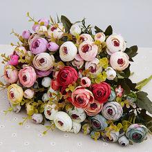 Biały jedwab herbaty róże sztuczne kwiaty panny młodej małe bukiet ślubny dekoracji wnętrz wysokiej jakości fałszywe kwiaty róże bukiet tanie tanio TH30 Rose Bukiet kwiatów Jedwabiu Ślub yellow purple pink blue white 30cm 11 81inch 3 5cm 1 37inch Wesele Strona domowa Dekoracja