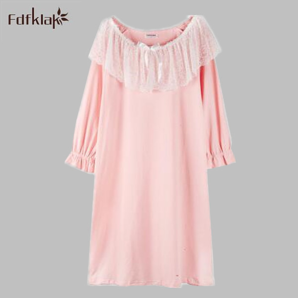 Summer Sleep Lounge Nightgown With Lace Home Dress Pink Princess Nightgowns Women Cotton Sleepwear Nightdress 5 Colors A700