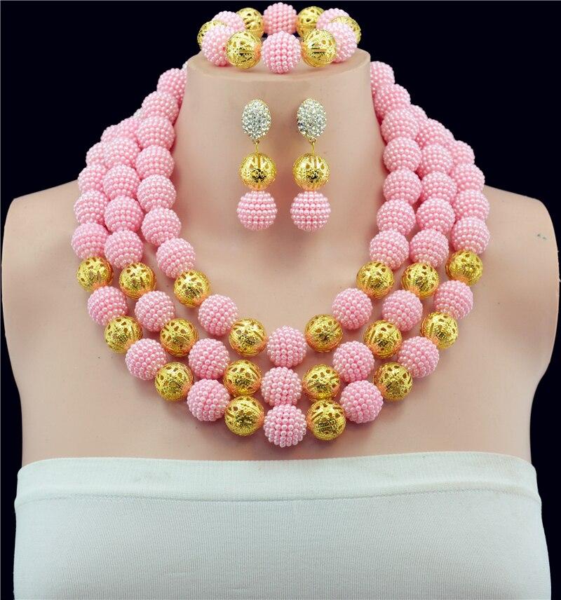 Новые Розовые Шарики для Женщин Шарики Африканская Комплект Ювелирных Изделий Нигерии Свадебные Ювелирные Изделия Колье Колье Бесплатная Доставка ABY754