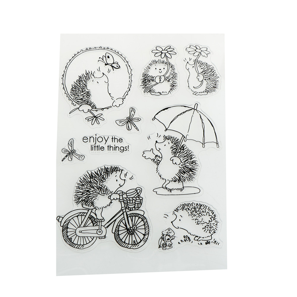 Cute Novelty Hedgehog Scrapbook DIY Photo Albums Cards Silicone Clear Stamps new